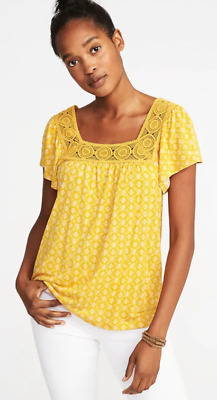 cfd8868ce5483d OLD Navy YELLOW Crochet TRIM Square NECK Soft TOP Shirt WOMEN XL XXL 2XL  New NWT