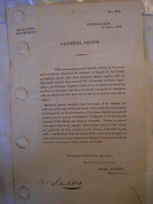 British Army Recruitment Document 1824 Recruits Pay Cavaly Infantry History