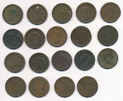 Lot of 19 - 1843-1856 Braided Hair Large One Cent U.S. Coins, 195.1 grams
