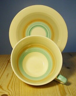 Susie Cooper Wedding Ring Band Green Large Cup & Saucer