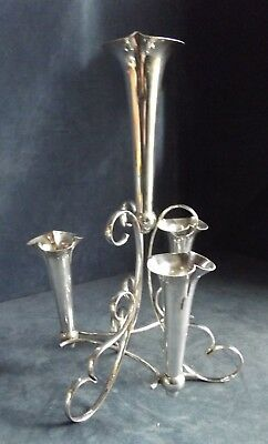 "SUPERB Large 13"" ~ SILVER Plated ~ 4 VASE ~ EPERGNE Stand ~ c1900"