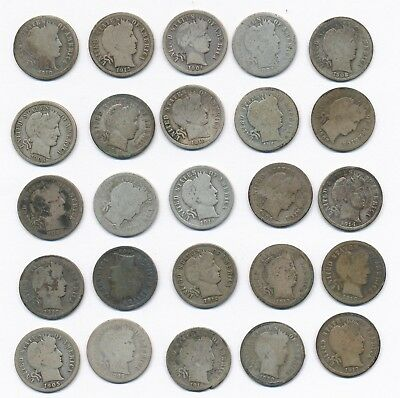 Lot of 25 - 1892-1916 Silver Barber Dimes U.S. Coins, 57 grams