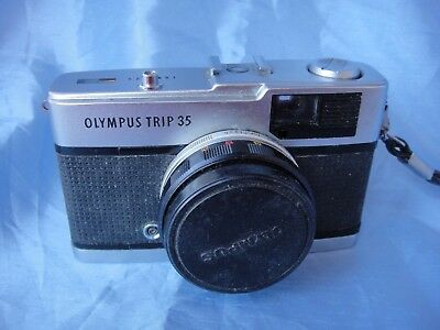Classic Vintage Olympus Trip 35 Film Camera - Silver Button