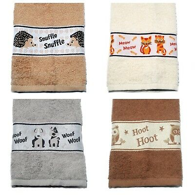 2 Pack Embroidered Tea Towel 100% Absorbent Cotton Kitchen Animals Dish Linen