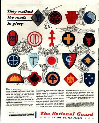1947 National Guard of the USA Soldiers Combat Patches Vintage Print Ad 1127