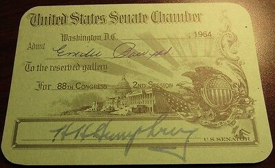 1964 United States Senate Chamber Pass Signed by Hubert H. Humphrey of Minnesota
