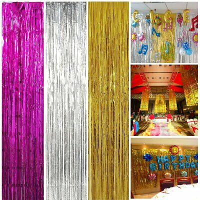 Tinsel Shimmer Foil Door Window Curtain Birthday Party Backdrop Xmas Decorations