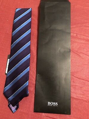 NWT New Hugo Boss $95 Men's 100% Silk Blue Striped Slim Neck tie 8.5 CM
