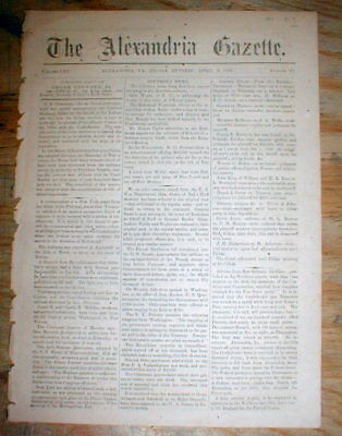 Original 1864 ALEXANDRIA GAZETTE Virginia Civil War newspaper w DENTIST AD Teeth