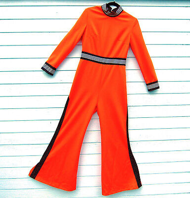 Vintage 1970s JC Penney Fashion Red Jumpsuit Women Bell-Bottoms
