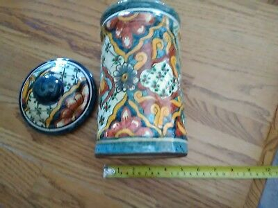 Mexican Ceramic Jar with Lid, contemporary colorful canister