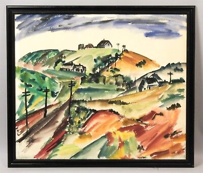 Estate Found Sabina Teichman 1942 Rural Country Landscape Watercolor Painting