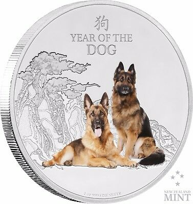 2018 Year of the Dog - German Shepherds Niue 1 oz Silver Coin    *** Great Gift