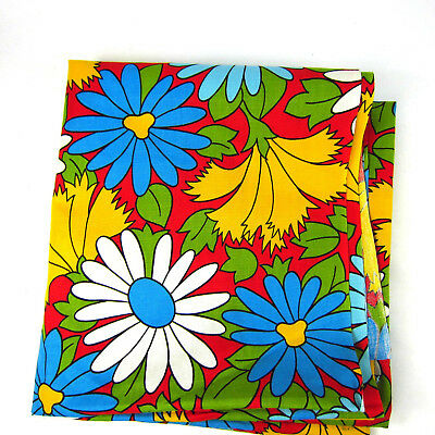 """Vintage Flower Power Fabric Cotton 88 x 44"""" 2.4 yards Daisies Colorful"""