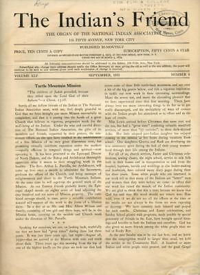 Sept 1933 The Indian's Friend Magazine Newspaper National Indian Association NYC