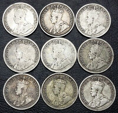 Lot of 9x Canada 10 Cents Silver Dimes ***1917 to 1936*** 80% & 92.5% Silver