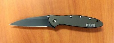 New Kershaw Leek Black Blade Olive Handle Plain Edge Folding Knife 1660OLBLK