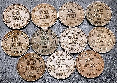 Lot of 11x Canada Small Cent Pennies ***Dates: 1920 to 1936*** King George V