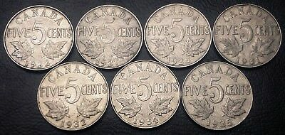 Lot of 7x Canada 5 Cents Nickels ***1922 to 1935*** Great Condition Coins