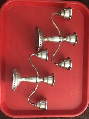 Vintage LA PIERRE Weighted Sterling Silver Triple Candelabra Candlesticks 5-4