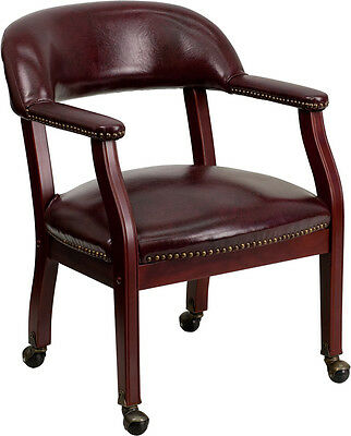 Lot of 8 Oxblood Vinyl Traditional Poker Table Chairs
