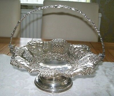 D Epns 24085 Antique Silver Plated Basket Bowl Swing Handle Embossed Pierced Fab