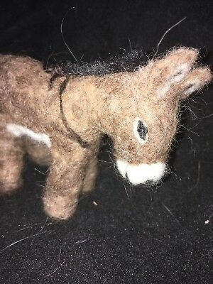 Needle Felted Alpaca Fiber Handmade Donkey Figure Sculpture Ornament