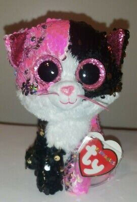 "Ty FLIPPABLES ~ MALIBU the Cat Changing Sequins 6"" Beanie Boos NEW & RARE"