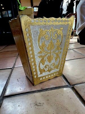 Italian Florentine Handpainted Gilt Trash Can