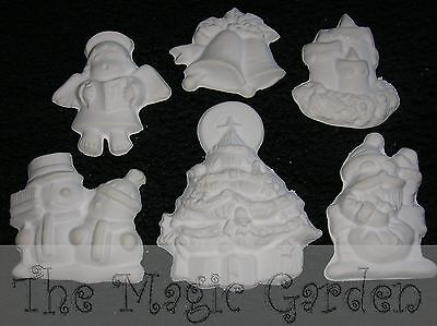 Christmas Xmas collection of 6 plaster craft latex moulds molds