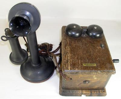Antique Western Electric Candlestick Telephone With Original  Oak Ringer Box