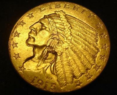 1915 $2 1/2 Indian Head Gold Coin Quarter Eagle Nice!