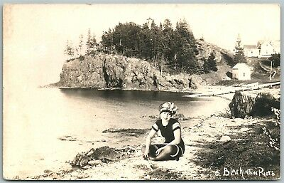 BATHING GIRL ANTIQUE REAL PHOTO POSTCARD RPPC PHOTOMONTAGE collage montage