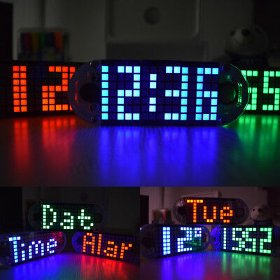 DS3231 DIY LED Alarm Clock Kit Touch Key Precision Dot Matrix Display Desktop