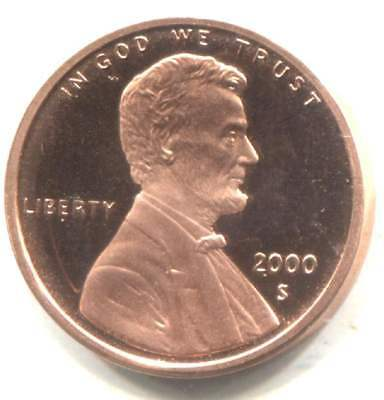 2000 S Cameo Proof Lincoln Memorial Penny - One Cent Coin San Francisco Mint