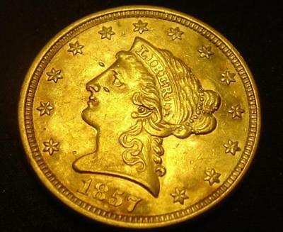 1857 $2 1/2 Liberty Head Gold Coin Quarter Eagle RARE!