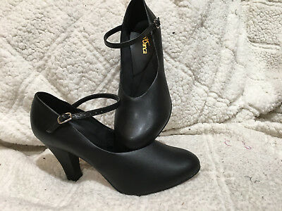 """SO DANCA CH53 Character Shoe w/ Leather Sole, Black with 3"""" Heel"""