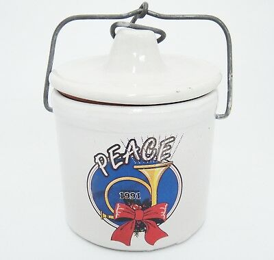 Vintage Stoneware Crock w Lid 1991 Christmas Horn Peace Bail Wire Closure