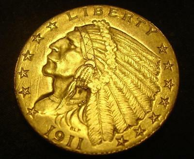 1911 $2 1/2 Indian Head Gold Coin Quarter Eagle Nice!