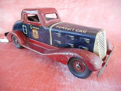 Old Vintage Rare Tinplate Louis Marx G Man Car 1935 America Clockwork Toy Racing