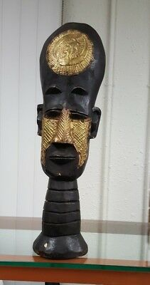 Ghana African Art Beaded and copper Wood Carving Statue/Home Decor #489