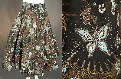 Vintage 50s Gold Glitter Blue Butterfly Floral Novelty Print Cotton Circle Skirt