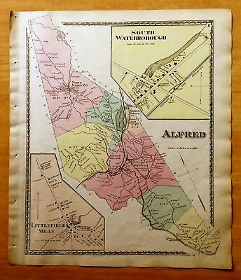 Original Antique 1872 Map ALFRED South Waterborough LITTLEFIELDS MILLS, ME Maine