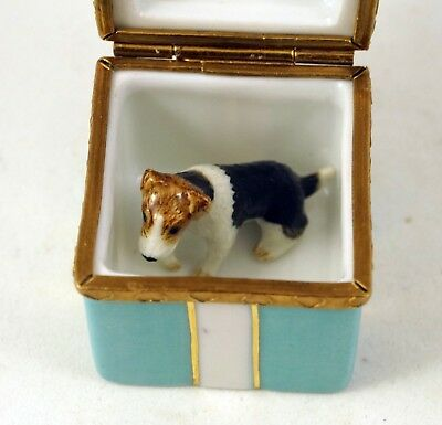 NEW FRENCH LIMOGES TRINKET BOX CUTE FOX TERRIER DOG PUPPY in TURQUOISE GIFT BOX