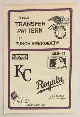Pretty Punch Hot Iron Transfer Pattern Punch Embroidery MLB-06 KC Royals New