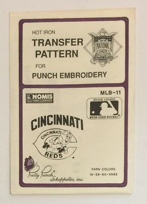 Pretty Punch Hot Iron Transfer Pattern Punch Embroidery MLB-11 Cincinnati Reds