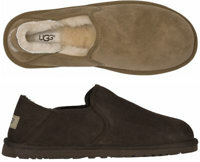 7b2a81e193d UGG MEN'S KENTON 3010 Sheepskin Black & Chocolate Brown slipper Shoes