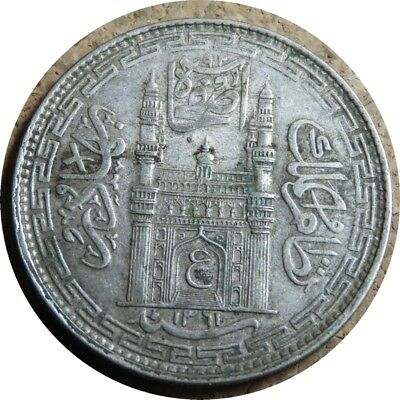 elf India Hyderabad 1 Rupee AH 1361  AD 1942  Silver   George V  World War II
