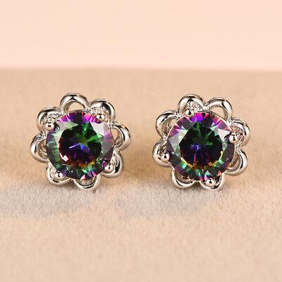 Elegant Round Cut Mystic Rainbow Topaz Flower Stud Earrings White Gold Jewelry
