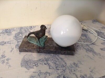 French Art Deco Style Marble Base Desk Table Lamp Light - Bird (2447)